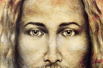 pencils drawing of Jesus on vintage paper. Old sepia structure paper. Eye contact. Spiritual concept.