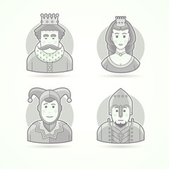 King in crown, royal person, queen, princess, court jecter, knight warrior. Set of character, avatar and person vector illustrations. Flat black and white outlined style.