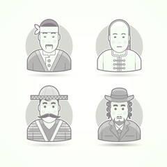 Japanese cook, Asian chief, Mexican citizen, Jewish orthodox man. Set of character, avatar and person vector illustrations. Flat black and white outlined style.