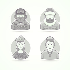 Special forces man, polar explorer, woman soldier, chursch priest. Set of character, avatar and person vector illustrations. Flat black and white outlined style.
