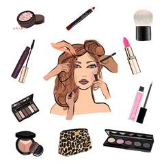 Make up illustration with lipstick