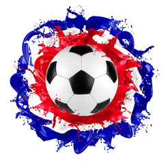 retro soccer ball french flag color splash