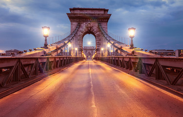 Canvas Prints Bridge Suspension Bridge in Budapest, Hungary at night