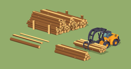 Log loader and the log piles. 3D lowpoly isometric vector concept illustration