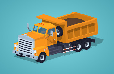 Loaded orange dumper against the blue background. 3D lowpoly isometric vector illustration