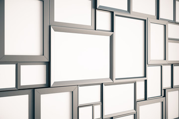 Many blank brown wooden pictures frames on the wall, mock up, 3D