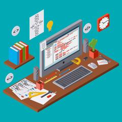 Program coding, SEO algorithm improvement, application development vector concept