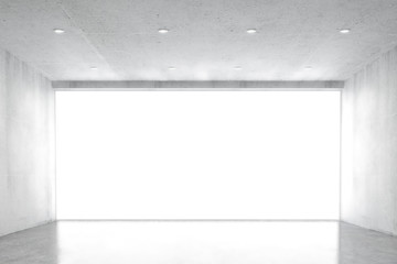 Big empty concrete room with big white wondow, 3D render