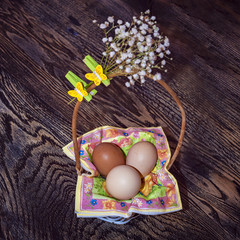 Easter basket with decoration
