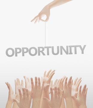 Parola opportunità tenuta in mano aspirazione