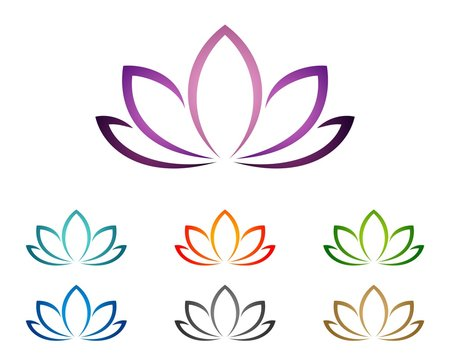 Purple Lotus or Lily Flower for Spa Logo Template 2