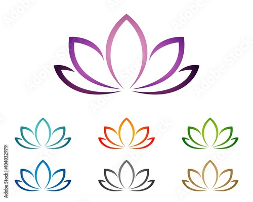 Purple Lotus or Lily Flower for Spa Logo Template 2\