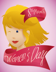 Beauty Woman Face with Pink Ribbons around for Women's Day, Vector Illustration