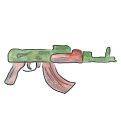 assault rifle  cartoon watercolor isolated