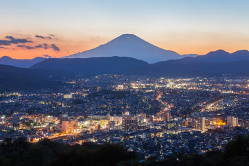 Beautiful Hadano city view with Mountain Fuji in evening autumn season
