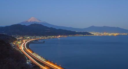 Tomai expressway and Suruga bay with mountain fuji at Shizuoka . Wall mural