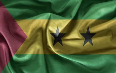 Waving Sao Tome and Principe Flag