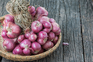 red shallot in basket