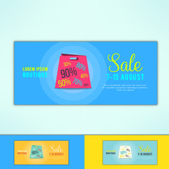 Vector shopping sale ad flyer with in modern flat design. Promotional design element