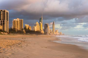 Australia, Queensland, Surfers Paradise beach and city at sunris