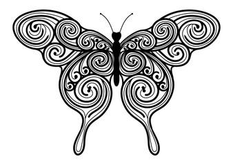 Dekoratives Vektor Element - abstrakter Schmetterling mit Swirl Muster. Mandala Vorlage mit schwarzen Konturen - isoliert auf weißem Hintergrund.