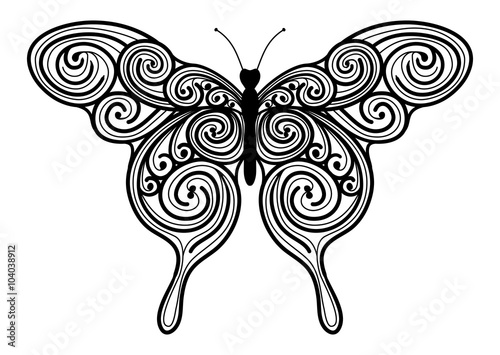 Dekoratives Vektor Element - abstrakter Schmetterling mit Swirl ...