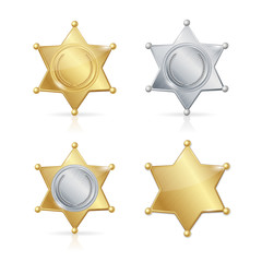 Shefiff Badge Star Set. Vector