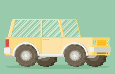 Off road car isolated on color background. Flat vector