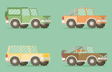 Off road car set isolated on color background. Flat vector