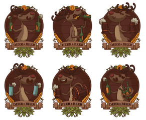 Vector set of six round brown wooden emblems with banners and  with cartoon image of funny brown deers with horns and with beer in bottles, mugs, cans, barrel on a light background.