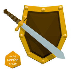 Low poly shield and sword on white background. Vector illustrati