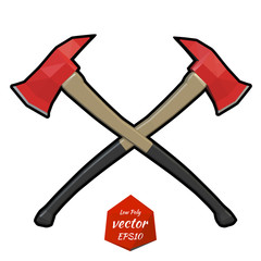 Two crossed firefighter ax on a white background. Vector illustr