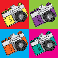 Vintage camera vector. Poster. Vector illustration in pop art style.