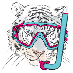 Tiger vector. Tiger in a mask for diving. Vacation and sea. Swimming. Sport.
