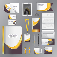 White identity template with Yellow Black origami elements. Vect
