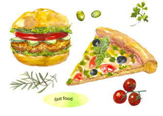 Fast food. Burger, pizza, greens, olives. Breakfast, lunch. Watercolor painting. Can be used for postcards, prints and design