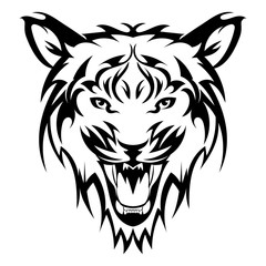 Beautiful tiger tattoo.Vector tiger's head as a design element on isolated background