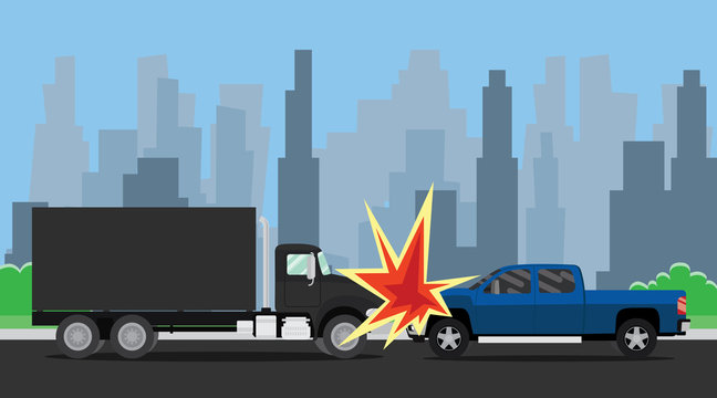 car suv and truck accident on the road vector illustration