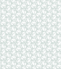 Floral light blue and white ornament. Seamless abstract background with fine pattern