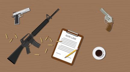 gun law legal illegal document  pistols riffle and ammo cartridge
