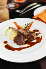 Roasted Lamb Chops grilled with mash potato and cream sauce