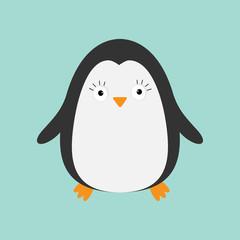 Penguin. Cute cartoon character. Arctic animal collection.  Baby bird. Flat design