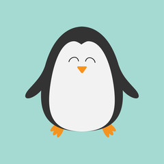 Penguin smiling face. Cute cartoon character. Arctic animal collection.  Baby bird. Flat design