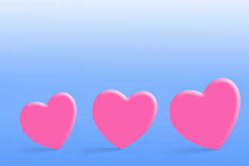 Pink lovely hearts over blue background