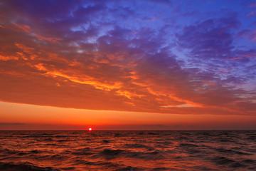 fantastic sunset over the sea.