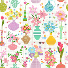 lovely seamless texture with modern variety vases of flowers