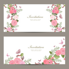 collection invitation cards with blossom of roses for your desig
