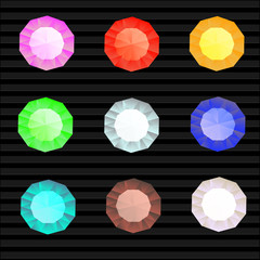 Vector set of colored gem stones, round diamonds on black