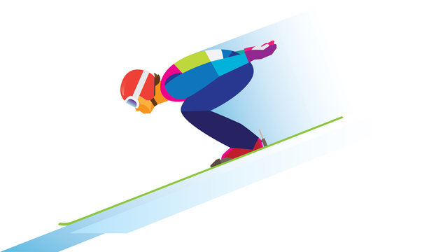 Young athlete is jumper on a ski jumping