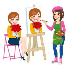 Artist Painting Portrait